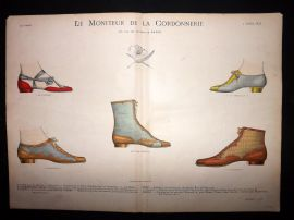 Le Moniteur de la Cordonnerie 1893 Rare Hand Colored Shoe Design Print 76
